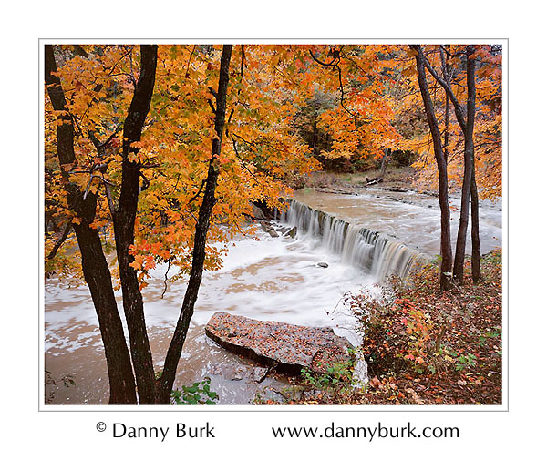 Picture: Fall color, Anderson Falls, east of Columbus, Indiana