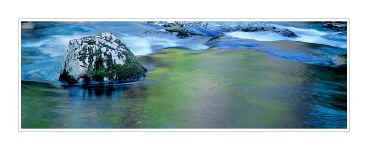 Picture: Moss-covered boulder and colorful reflections, Middle Prong of Little River, Tremont, Great Smoky Mountains National Park, Tennessee - Panorama