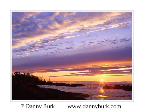 Picture: Sunset over Lake Superior, south of Copper Harbor, Keweenaw Peninsula, Michigan