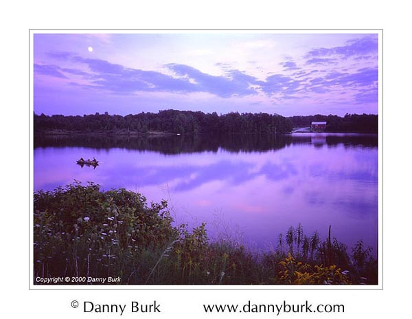 Picture: Boater at Dusk, Worster Lake, Potato Creek State Park, Indiana
